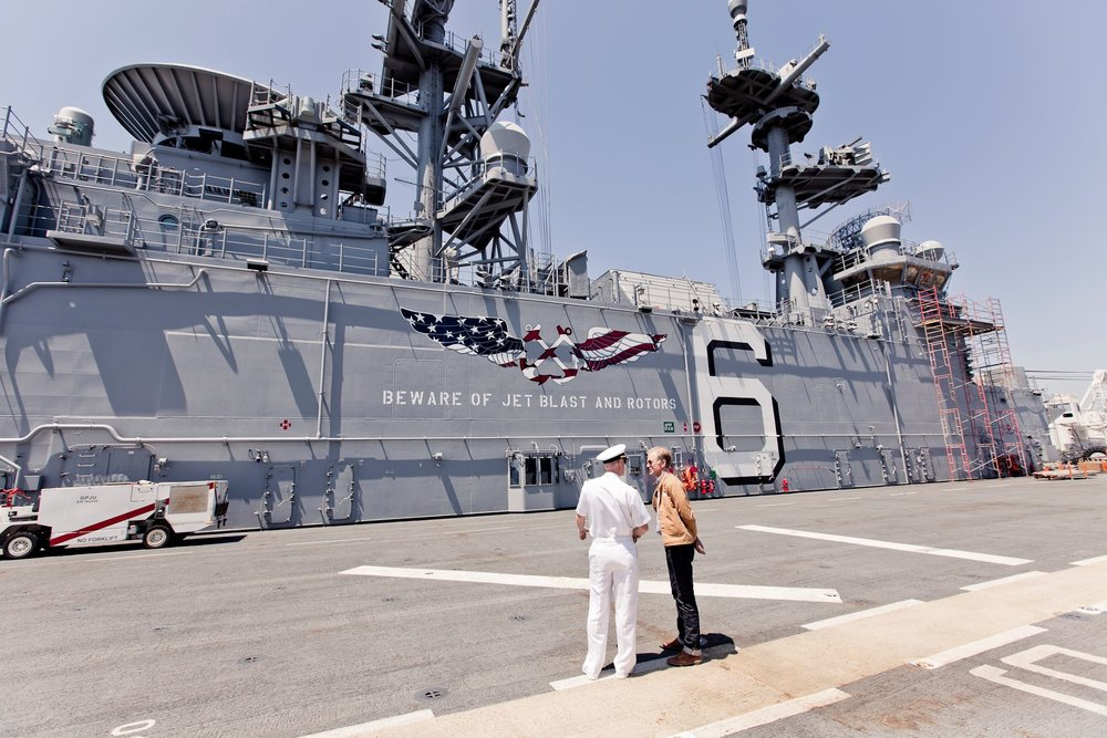 This is Happening: A Clean Energy Revolution - Writer/Director Jamie Redford with US Navy hybrid ship, San Diego.