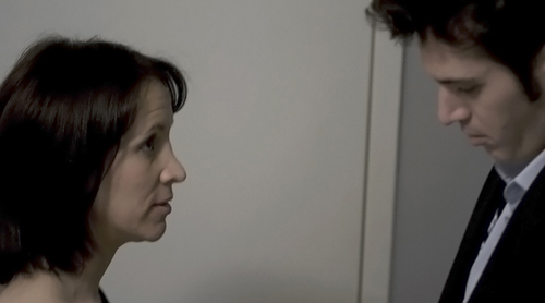 "Jill Awbrey and John Faughnan rehearse a scene while shooting ""Abby Undone""."