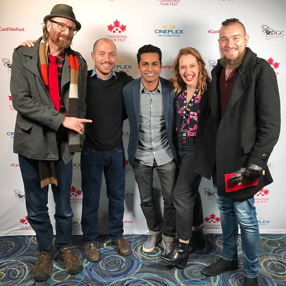 Time Out  Cast/Crew at the Canadian Film Festival – (from left to right) Cinematographer Bruce William Harper, Editor Mike Donis, Director Navin Ramaswaran, Actor/Producer Jen Pogue, Sound Designer Stéphan-André Guschewski.
