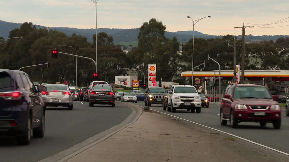 No Pain No Train - Late afternoon traffic along Ferntree Gully Road, Scoresby.