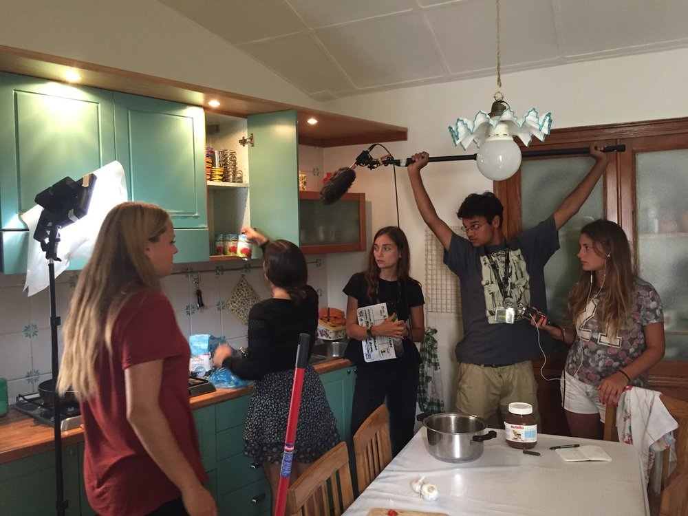 Behind the Scenes - Filming a scene about using canned tomatoes in lieu of real tomatoes to fix the spaghetti sauce the main character Abby screwed up. This scene ended up on the chopping block in post after realizing cutting the 'sauce' bit completely played into the comedy more.