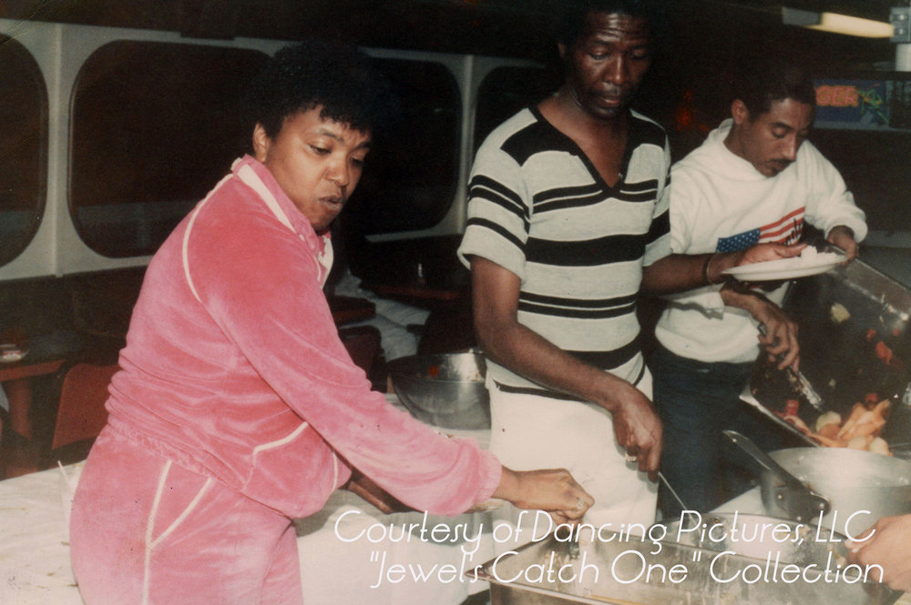 Jewel cooks at soup kitchen in the 1980s.