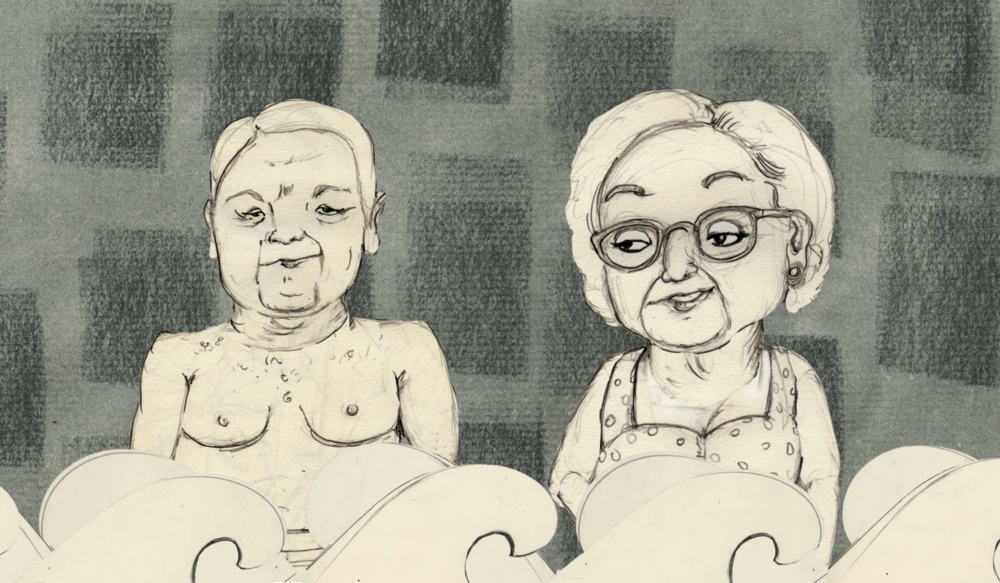 Kitty and Ellen - Film intervweves hand drawn animated illustrations by my mother Maria Pia Marrella