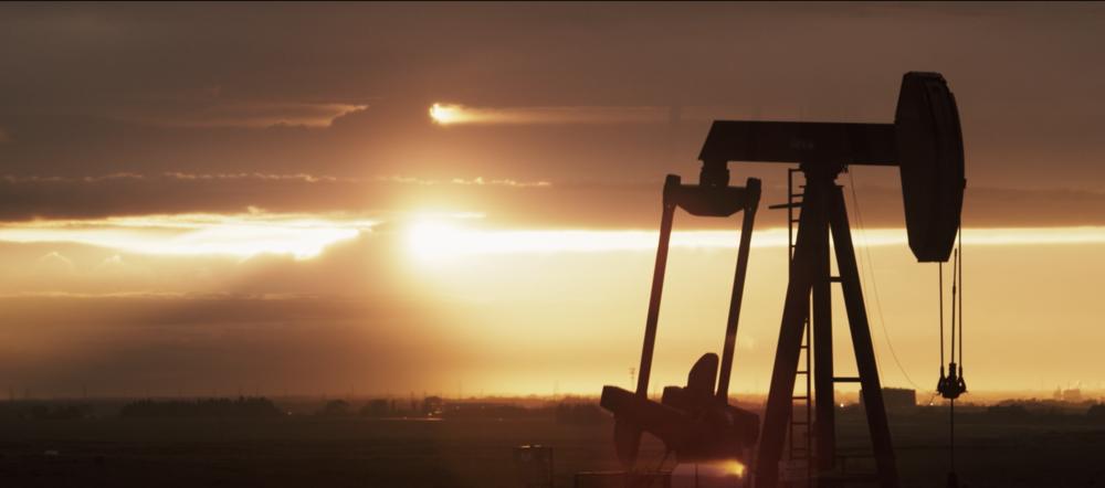 A pump-jack in front of Fort Saskatchewan Albarta