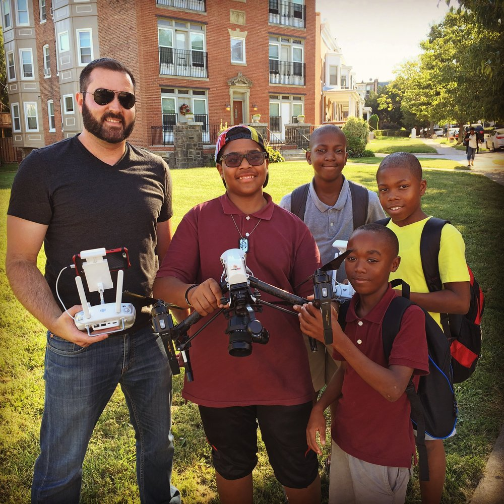 Dear Baltimore - Matt Cipollone and some students from Baltimore's Reservoir Hill neighborhood fly a drone to capture the film's opening sequence.