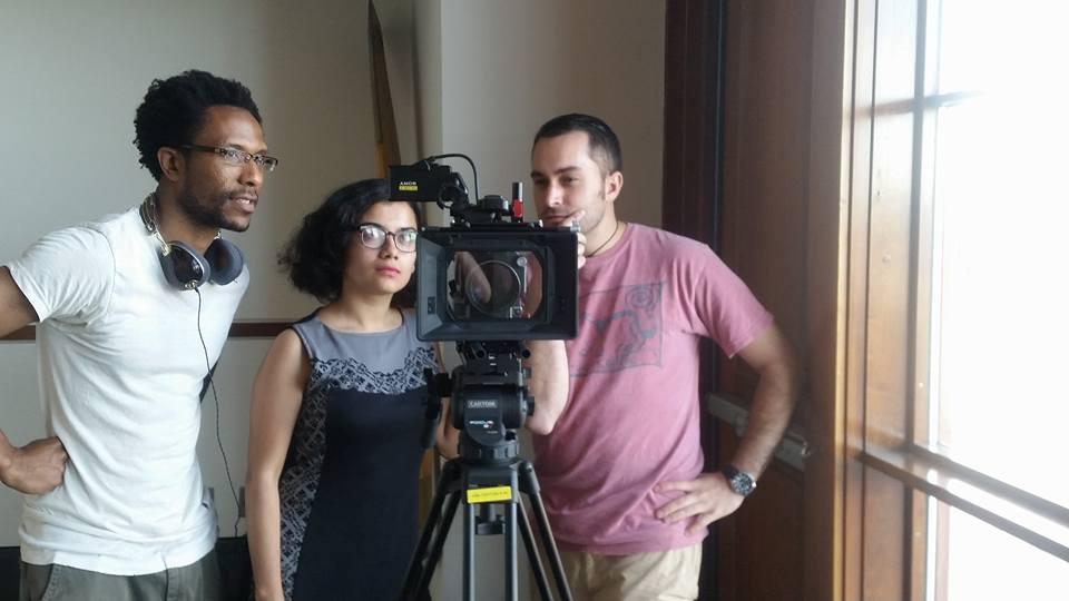 Director Maria Servellon with Hyphen teaser trailer crew members Daniel Callahan (left) and Matthew Seifert (right).