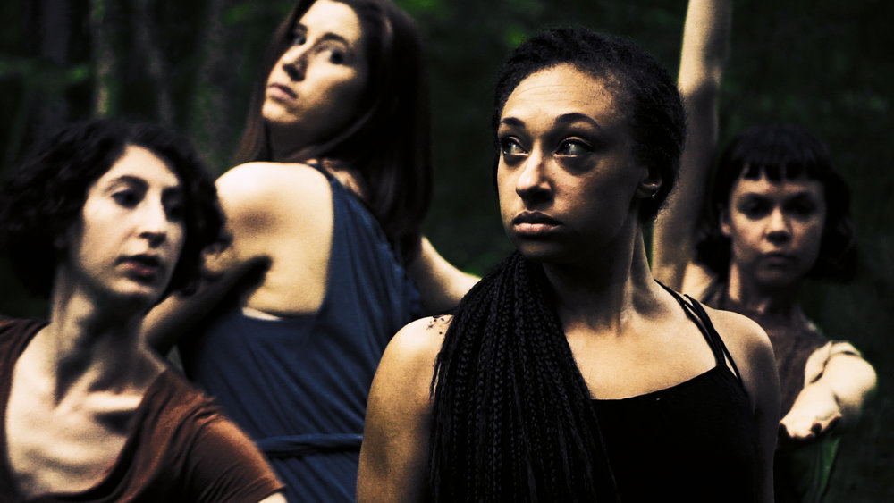 Left to Right: Dancers Margot Steinberg, Candace Eaton, Caitlin Green and CelineMcBride in a dance scene from Selva Oscura.