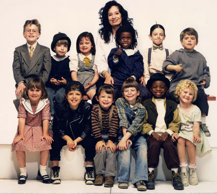Director Penelope Spheeris with Little Rascals crew