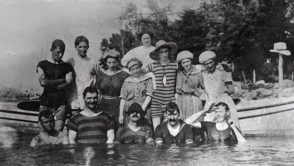 Flat Rocks - The Kahnawake community enjoying the river before the St. Lawrence Seaway construction.