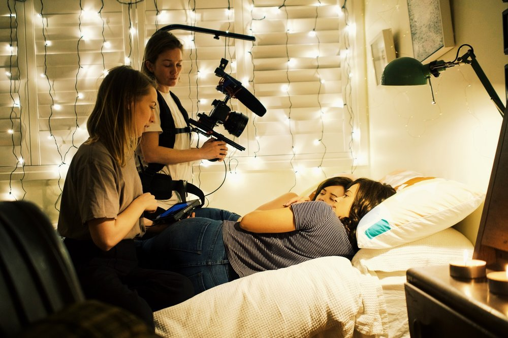 Phenomena - Director Izzy Stevens and Cinematographer Cate Hartmann shoot a scene with Raechelle Banno, and Karina Banno.