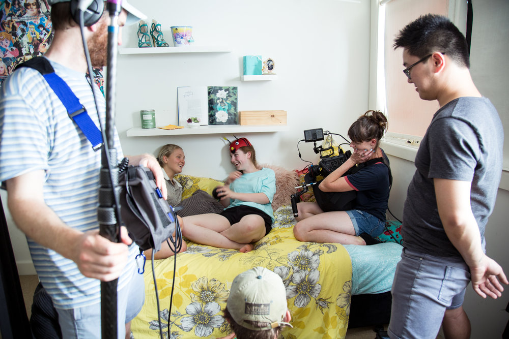 Cannot Predict Now - Behind the scenes: (L-R) Lloyd Pratt on sound, actors Emily Yates and Jess Kennedy, our cinematographer Alice Stephens and Gaffer Justin Yong