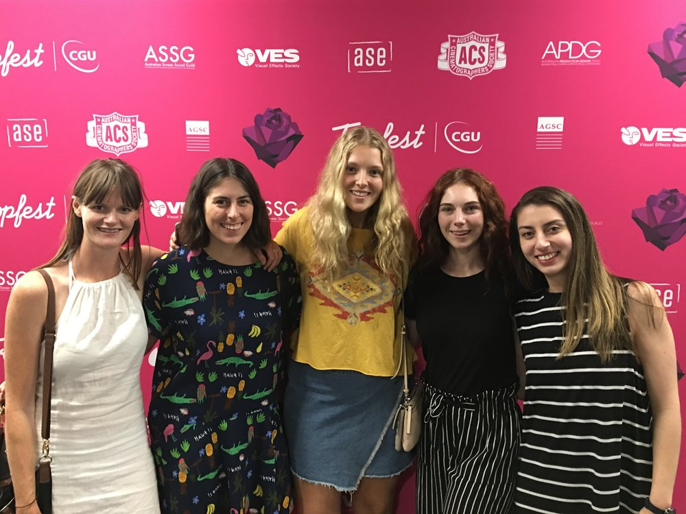 Cannot Predict Now - Our 'dream team' at Tropfest: (L-R) Cinematographer Alice Stephens, Writer/Director Nikki Richardson, Actors Emily Yates and Jess Kennedy, and Assistant Director Dana Simon