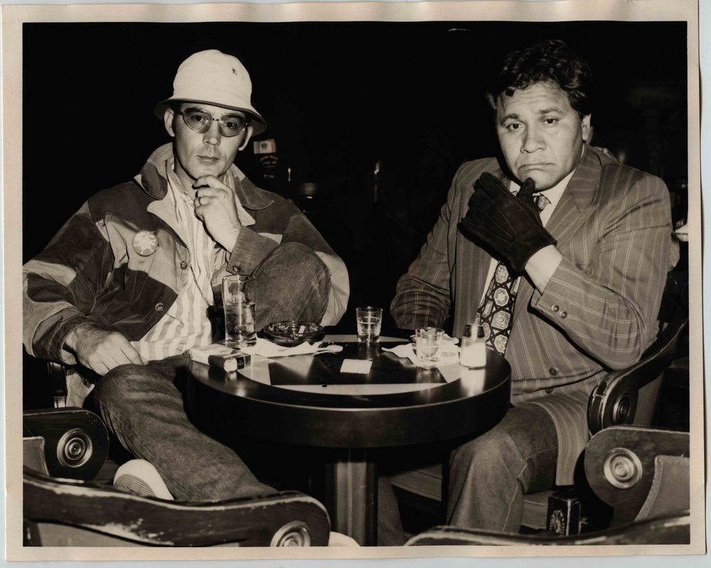 Hunter S. Thompson and Oscar Zeta Acosta, Las Vegas, Ceasar's Palace, April 1971, Photographer unknown copy.jpg