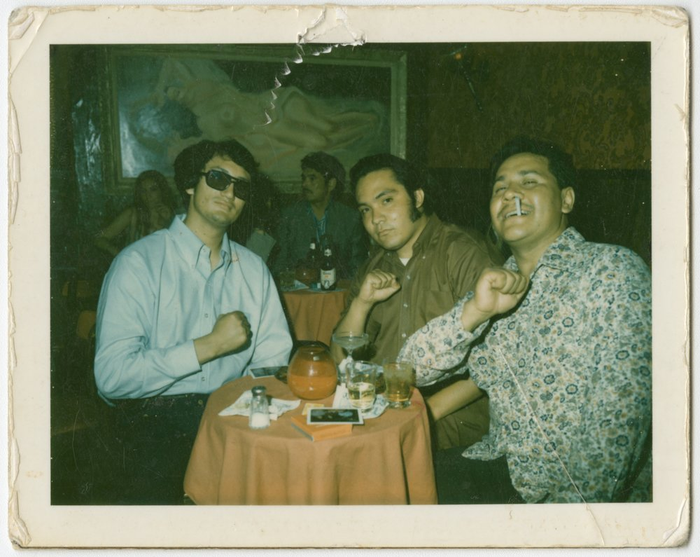 The Rise and Fall of the Brown Buffalo - Oscar Zeta Acosta (far right), no date, Photo credit courtesy of The California Ethnic and Multicultural Archives (CEMA), UC Santa Barbara Library