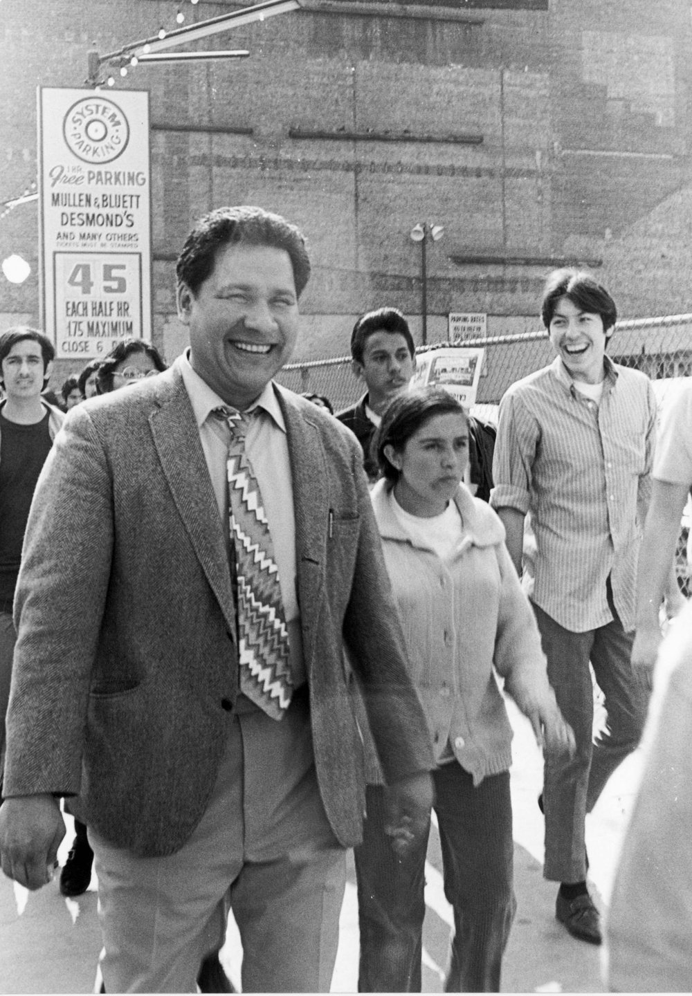 The Rise and Fall of the Brown Buffalo - Attorney Oscar Zeta Acosta at a demonstration in downtown Los Angeles, circa 1970, Photo credit courtesy of Oscar Castillo