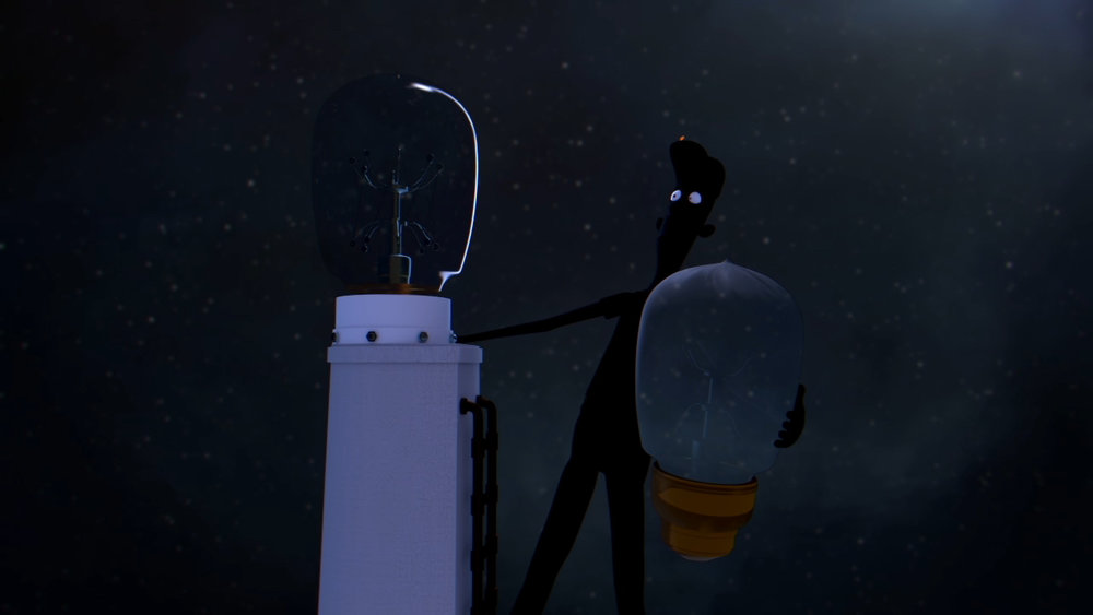 City Lights - The bulb goes out again after being struck by lightning, leaving Roy charred.
