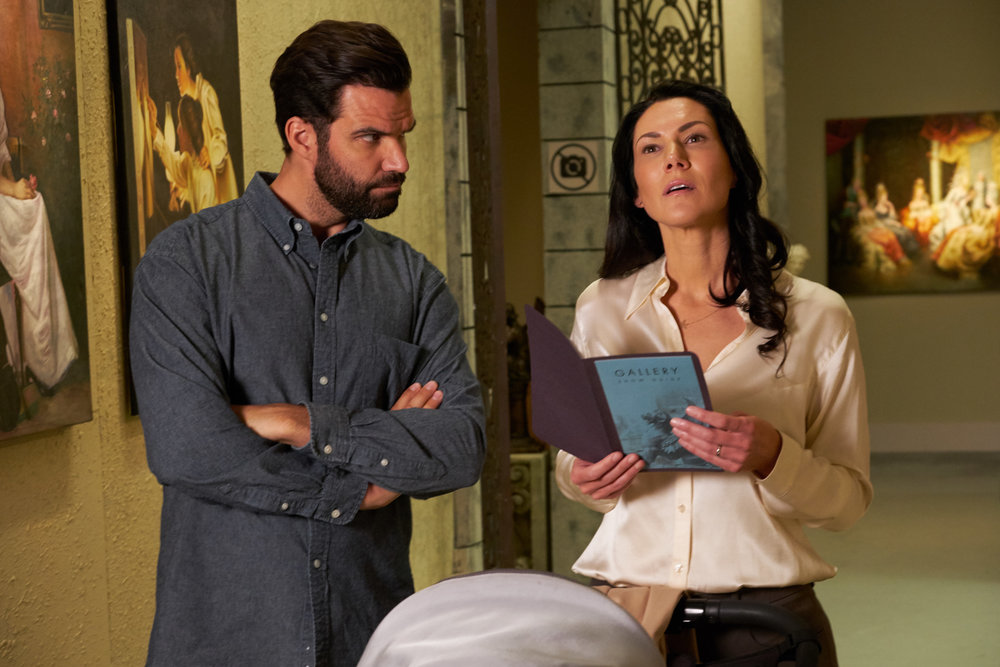 "Benjamin Ayres as the ""Husband"" and Kyra Zagorsky as the ""Wife"