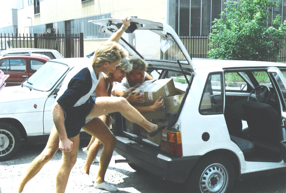 Italo Disco Legacy - Flemming Dalum and friends packing records at Il Discotto, Milan, 1985