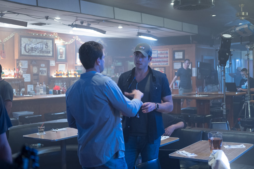 """L-R: Alex Russell (""""Dustin"""") and Michael Doneger (writer/director) on the set of BRAMPTON'S OWN"""