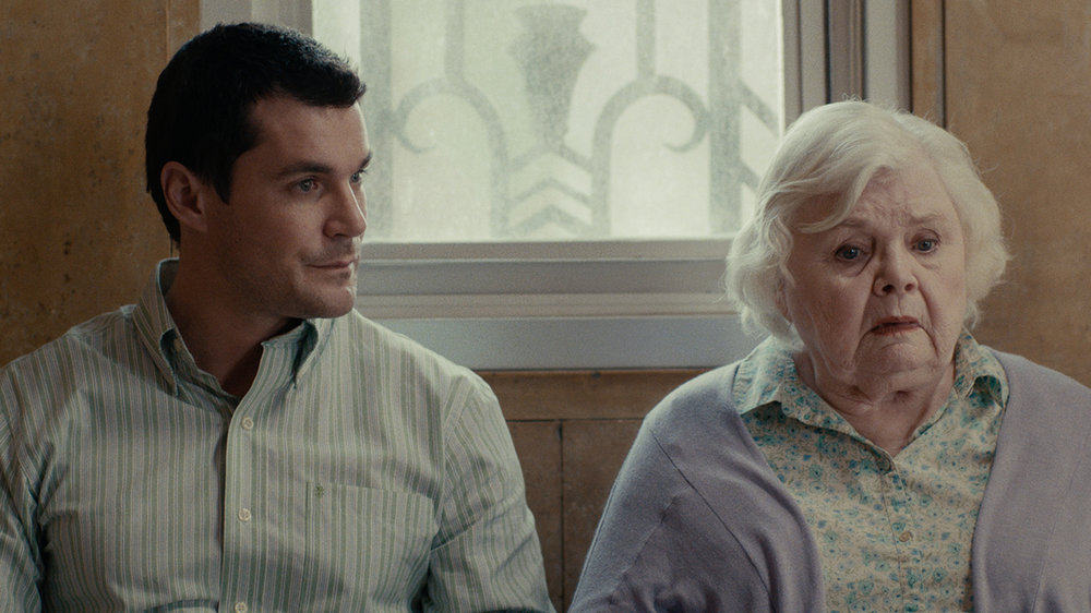 Actors Sean Maher (Ben) and June Squibb (Mrs. Perkins) in the Hospital Lobby Scene