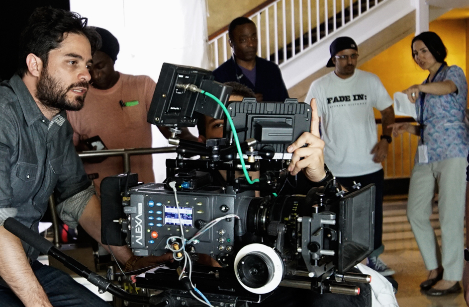 On Set (L to R): Alan J. Carmona (DP), Lee Walker (Key Grip), Jeffrey Horne (Additional First AD), Arnold Pitre (Second Second AD), Romina Schwedler (Director)