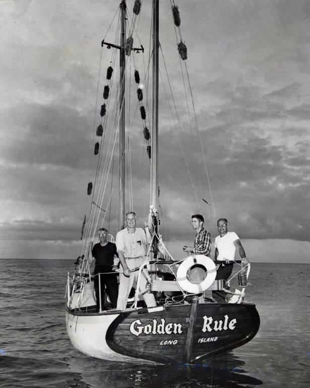 Golden Rule original crew, sailing for the nuclear bomb site in the Marshal Islands, 1958. Swarthmore College Peace Collection