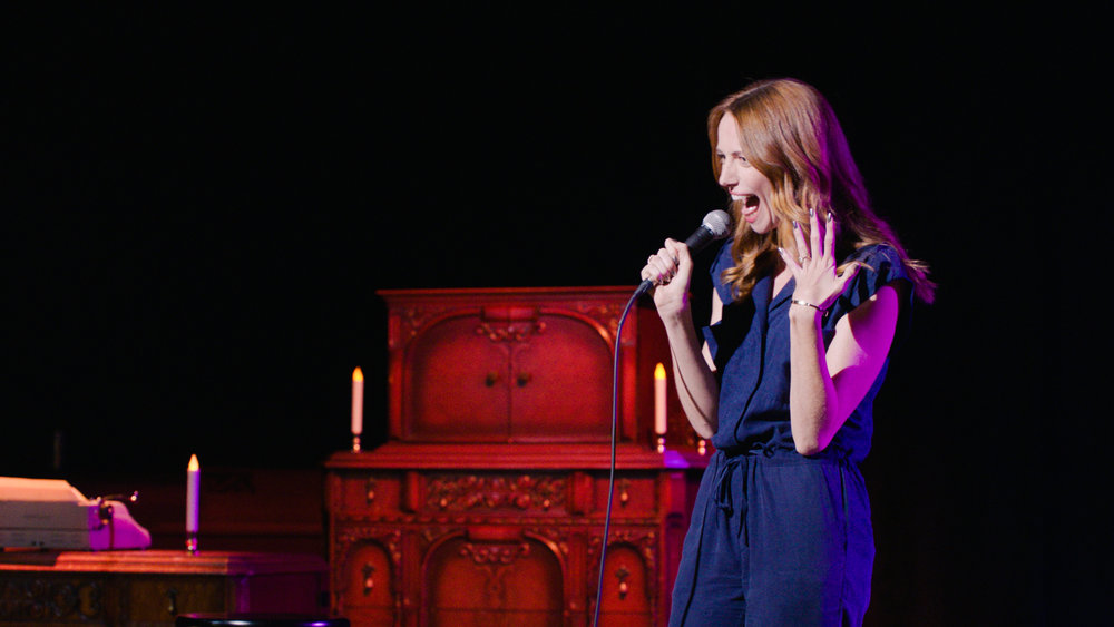 Leah Rudick delivers a punchline for Seed&Spark's first comedy special.
