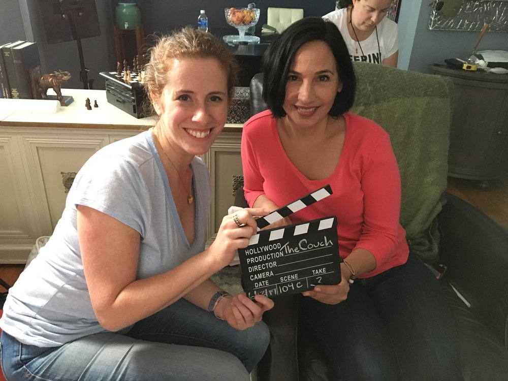 Ayelette Robinson (left) with Cristina Frias, who plays therapist Carol in The Couch. Linda McLaurin (back right) was the script supervisor for the series.