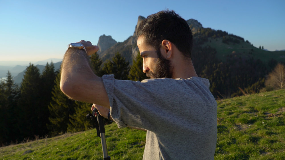 Unbroken Paradise - Ramman Ismail overlooking the beautiful peaks and mountains near Annecy in France, where part of the film was shot.