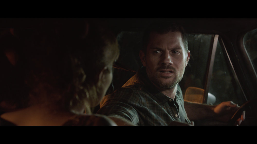Harris (Gino Anthony Pesi) realizes that his mysterious passenger Penny (Brinna Kelly) is not such a stranger.