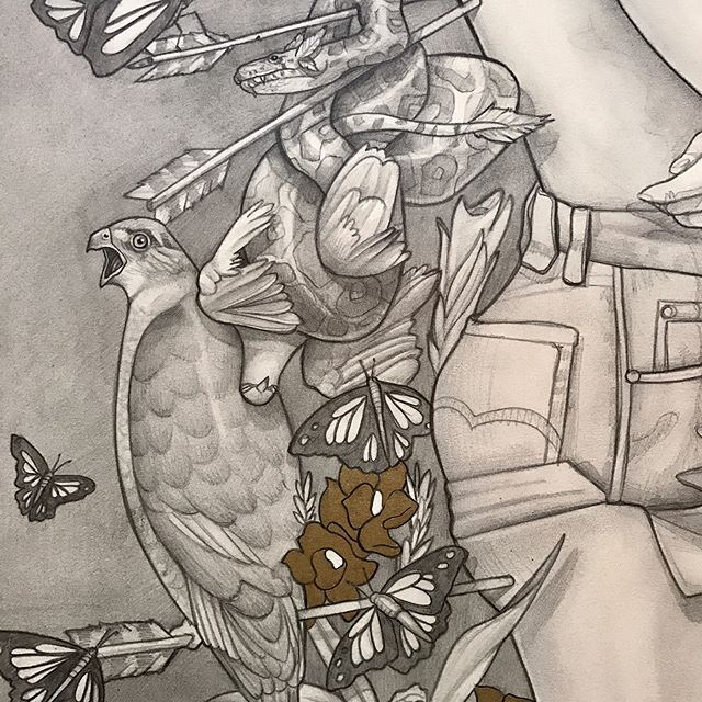 Some details of... 'We Were Nature' - 2017 Pencil and Gold Ink on A3 300gsm Saunders Waterford Paper. For sale - PM me for details . Full picture of the piece on my profile! . . . . #perth #illustration #art #sketch #perthisok #fashionillustration #gold #bnw #animals #artist #pencil #pencilsketch #paper #portrait #pencilsketch #forsale #butterfly #lion #traditional