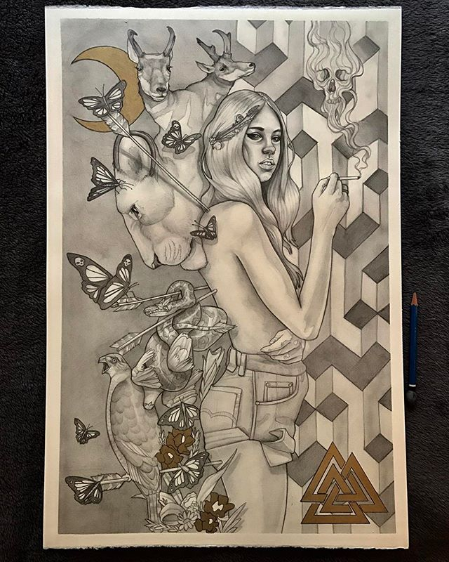 'We Were Nature' - 2017 Pencil and Gold Ink on A3 300gsm Saunders Waterford Paper. For sale - PM me for details . . . . . #perth #illustration #art #sketch #perthisok #fashionillustration #gold #bnw #animals #artist #pencil #pencilsketch #paper #portrait #pencilsketch #forsale #butterfly #lion #traditional