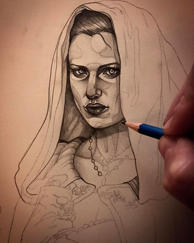 The under drawing for a new piece. Only got 6 days to get this thing finished for an exhibition so gotta get cracking!! . . . . . . #illustration #art #fashionillustration #gold #colourful #paper #paper #perth #pencils #bnw #blackandwhite #portrait #pencildrawing #wip #perthisok #painting #paint #cloak #eyes #sketch #drawing