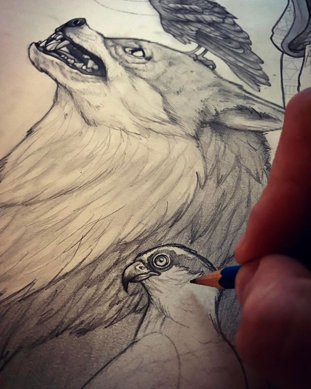 Been drawing all day, watching horror movies I have needed to catch up on. Nothing better than freaking yourself out and having a piece of art you can pretend to focus on when shit gets too real! . . . . . . #illustration #perth #perthisok #sketch #drawing #art #wolf #fox #bird #pencil #paper #traditional #graphite #bnw #blackandwhite #saturdaynight #draw #drawing #wip #artist #exhibiton