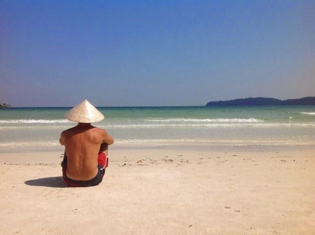 Koh Rong Samloem adası ve ben. Soldaki ben.