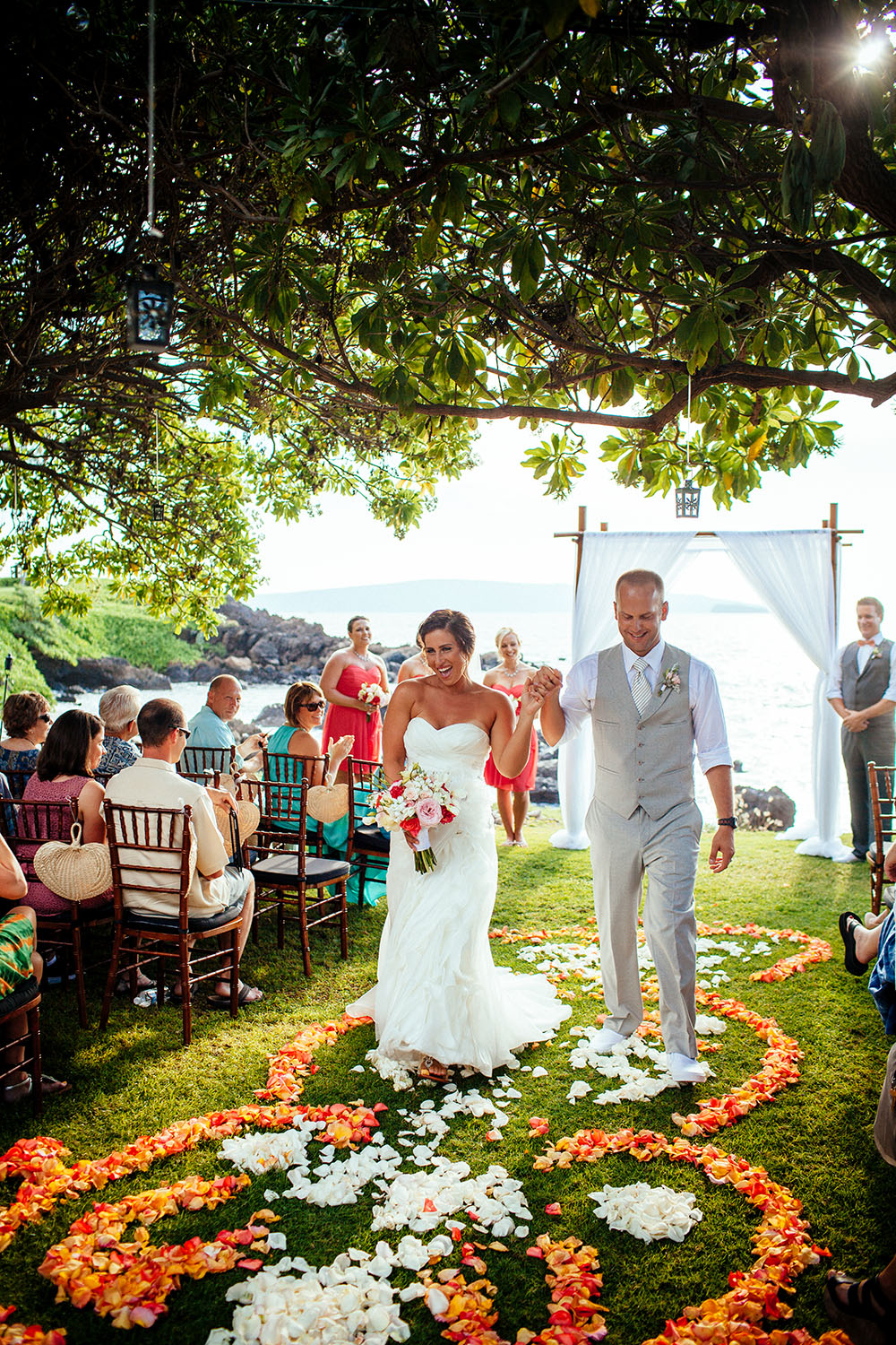 Tropical orange flower petal ceremony aisle runner by Bliss Wedding Design - Dmitri and Sandra Photography