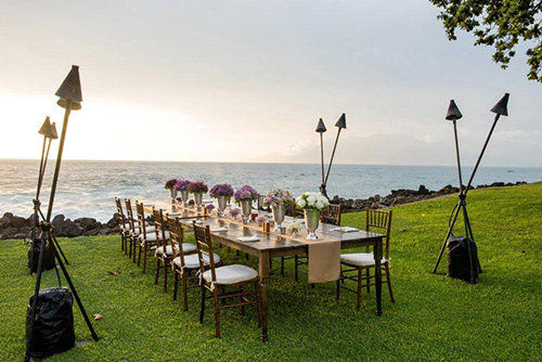 Maui Marriott beachfront wedding reception