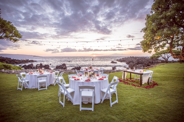 outdoor ocean view wedding reception