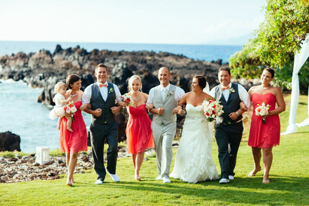 coral colored wedding party