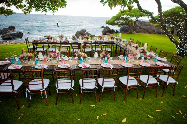 Outdoor Rustic Island Wedding Reception