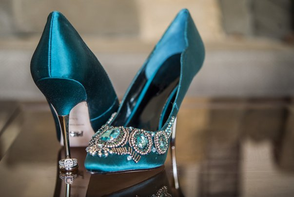 jeweled teal high heels
