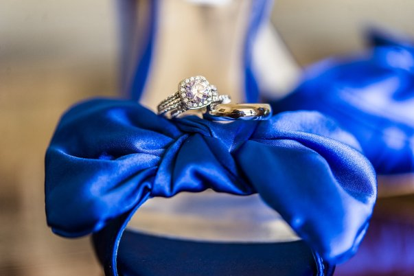 royal blue bow high heels + stunning diamond ring