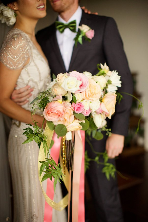 bliss maui wedding - bouquet and wedding dress