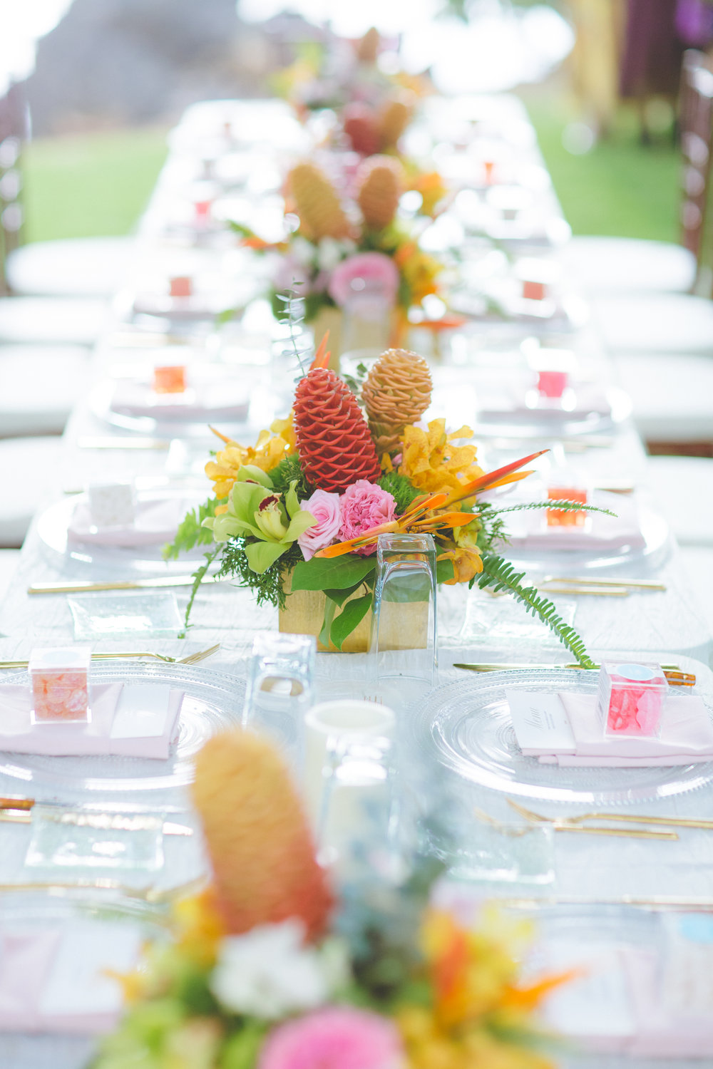 Tropical wedding table by Bliss - Dmitri and Sandra Photography