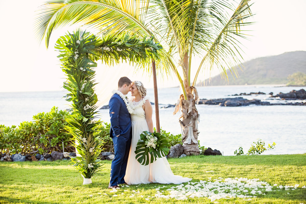 Lush tropical oceanfront wedding
