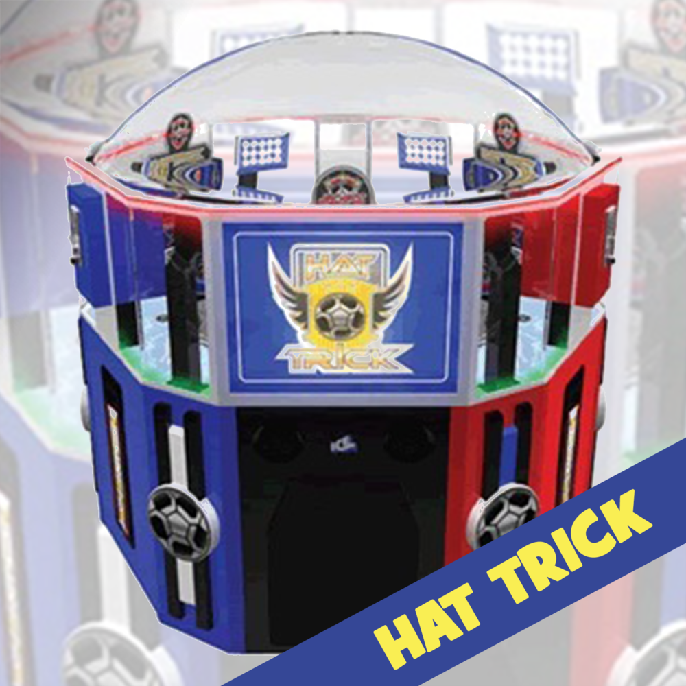 GRAB YOUR COINS!  Hat Trick  is a three player coin roll down with many opportunities to win tickets and the big bonus. The player releases a coin down the ramp at the correct time so that it can make it across the rotating play field and into the jackpot target without falling into other targets along the way.