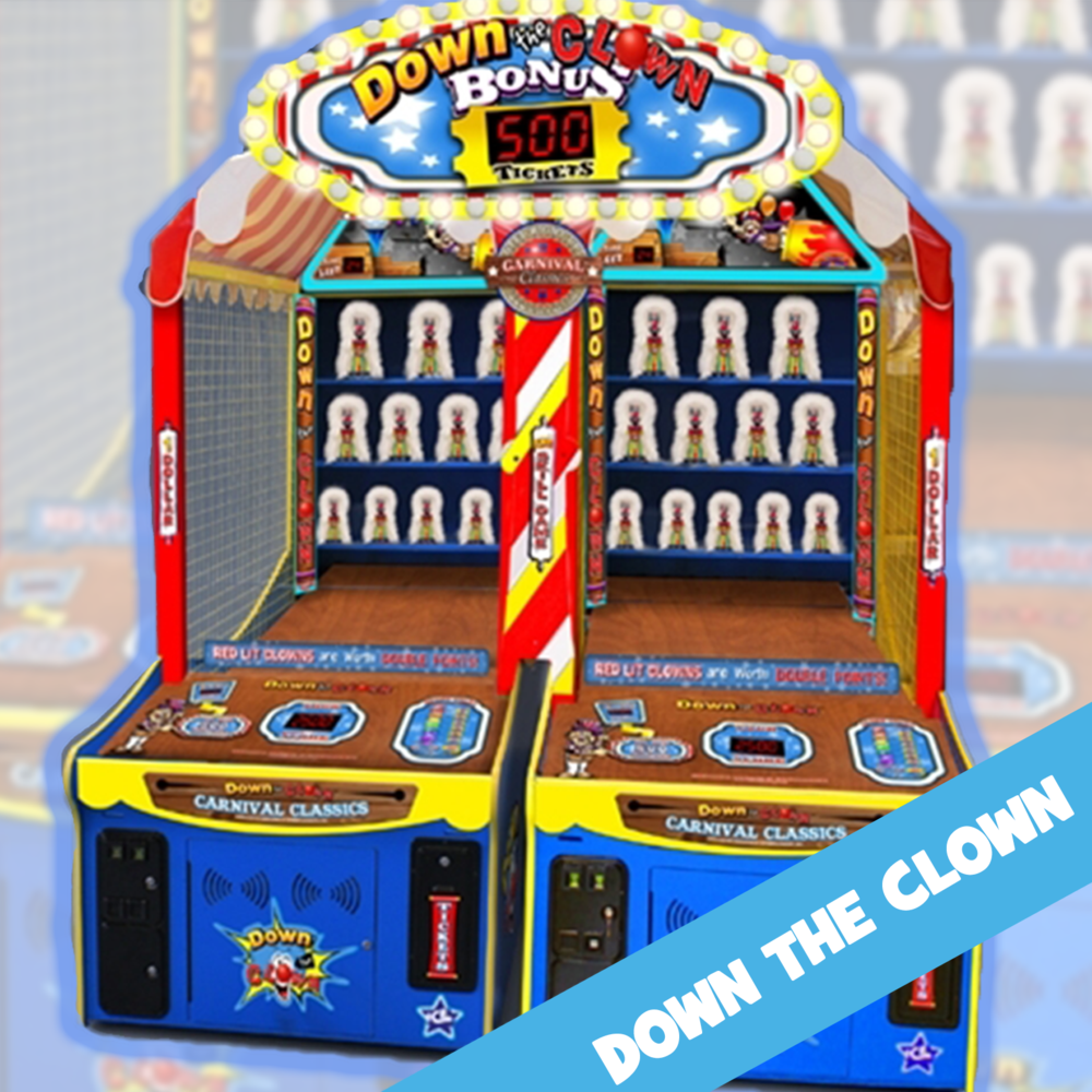 Try'N Knock Em' ALL DOWN. Test your accuracy by tossing balls at the different sized clowns for points, hitting certain clowns adds bonus points as the players attempt to the hit the interactive big bonus. IT'S Just like A real carnival!