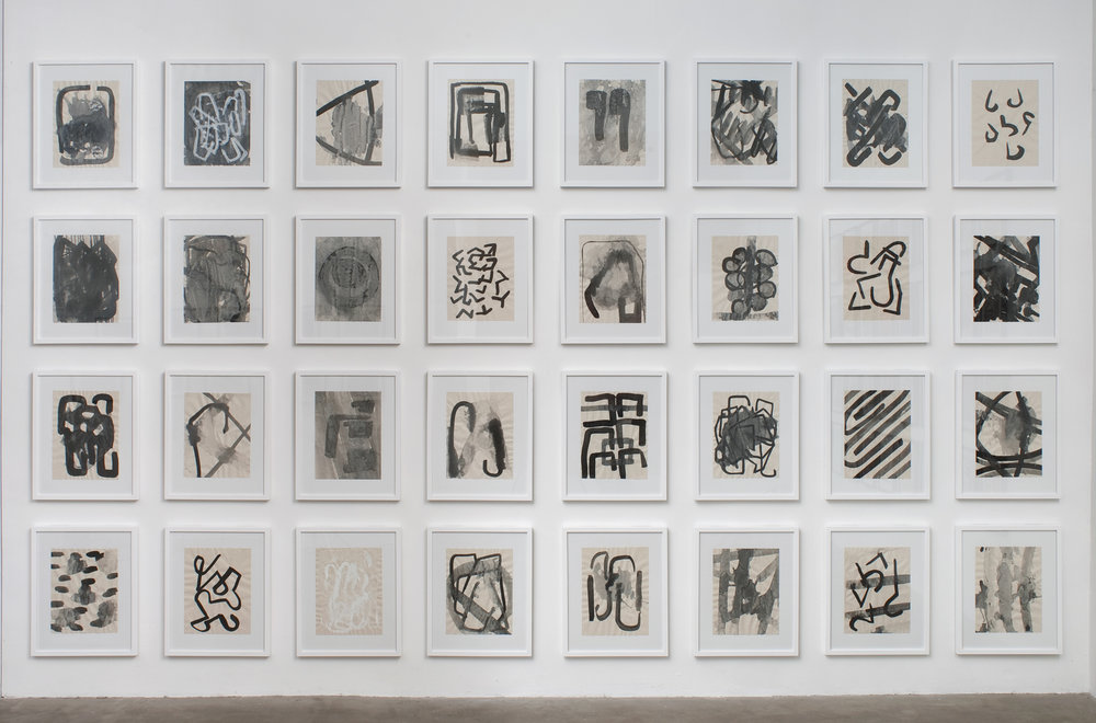 32 framed drawings, ink and gesso on parchment, 2013, 13 3/4 x 10 ¾ inches