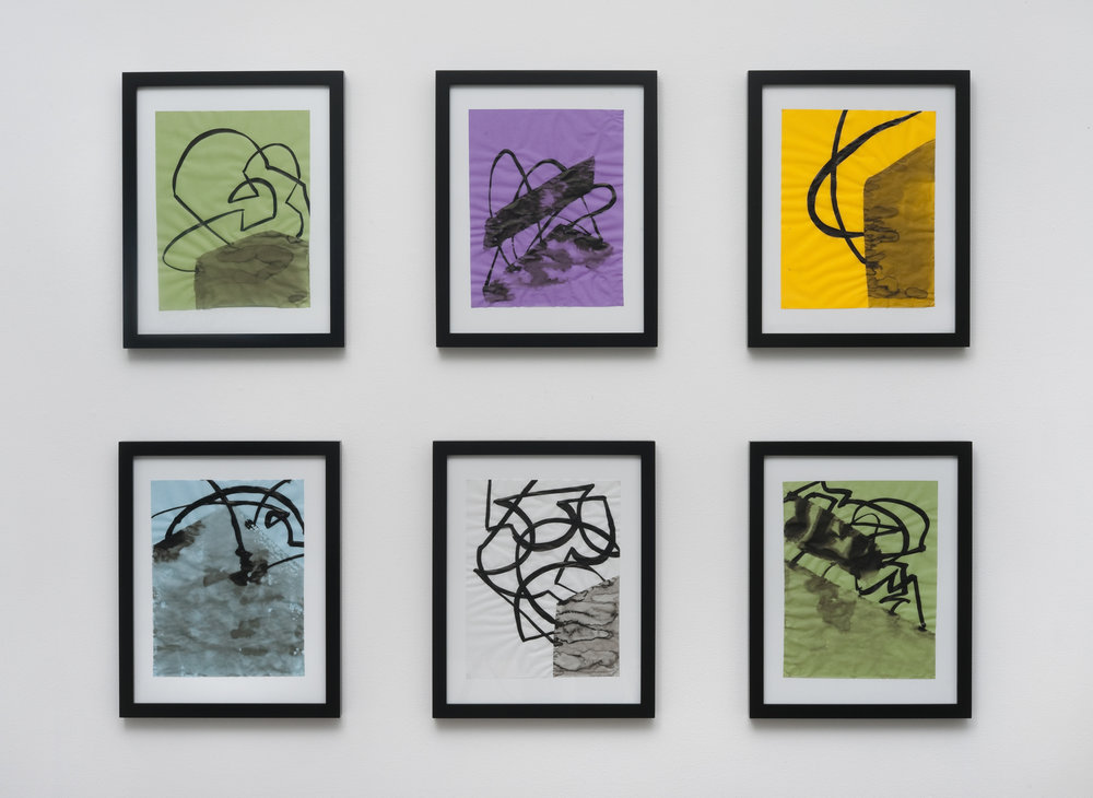 6 framed drawings, ink on vellum, 2013, 11 x 8 ½ inches