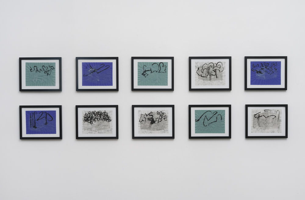 8 framed drawings, ink on vellum, 2013, 8 ½ x 11 inches